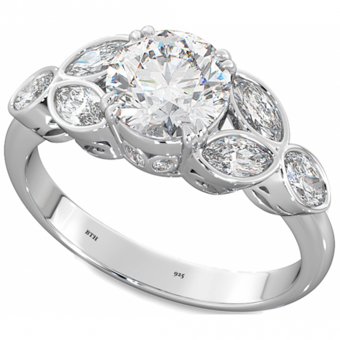1.54ct LADIES Round Brilliant & Marquise Cut 925 Silver Wedding Engagement Ring