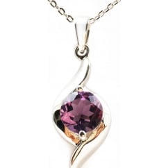 2.2ct Amethyst Ladies Gem Stone Pendant Necklace in 925 Sterling Silver