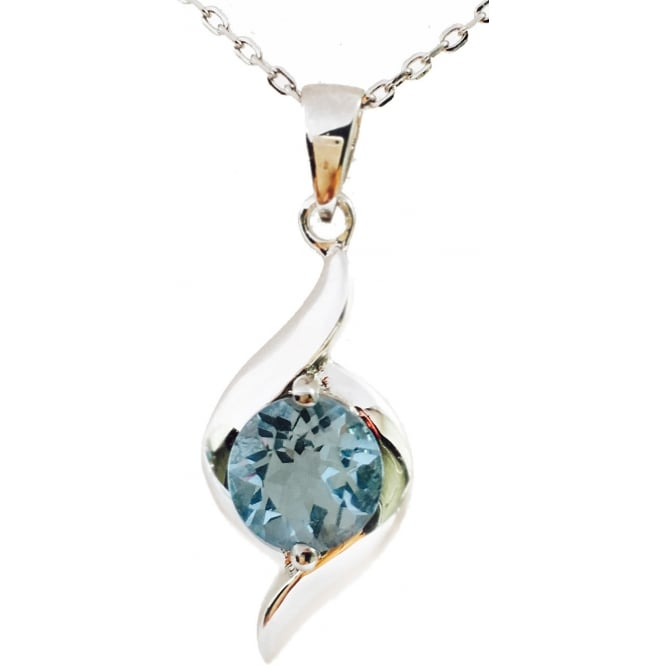 2ct Swiss Blue Topaz Ladies Pendant Necklace in 925 Sterling Silver - 17 inches