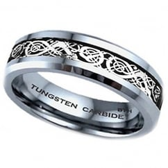 6MM Celtic Dragon Inlay TUNGSTEN Carbide Comfort Fit Wedding Engagement Band Ring