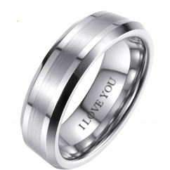 6mm Tungsten Wedding Engagement Band Ring - Engraved with I love you