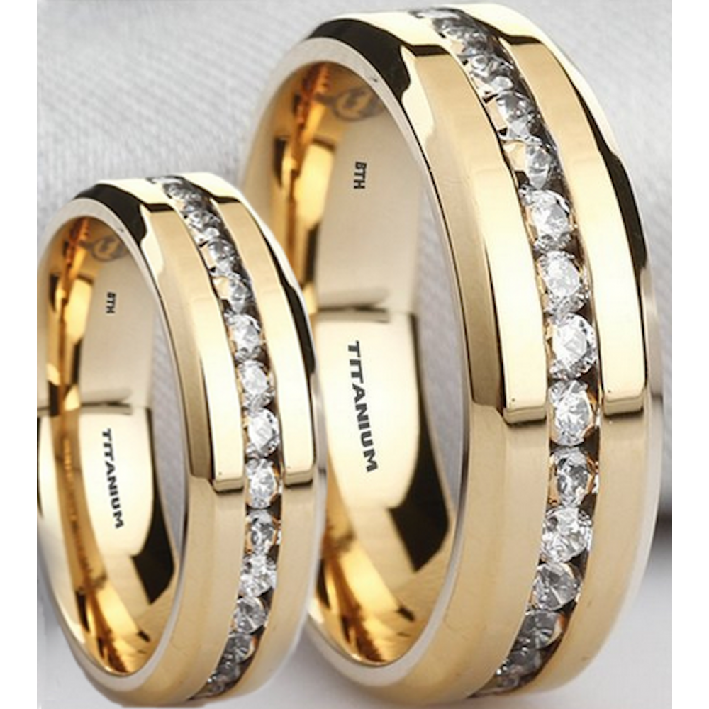 Matching His & Her's Titanium Simulated Diamonds Ring Set