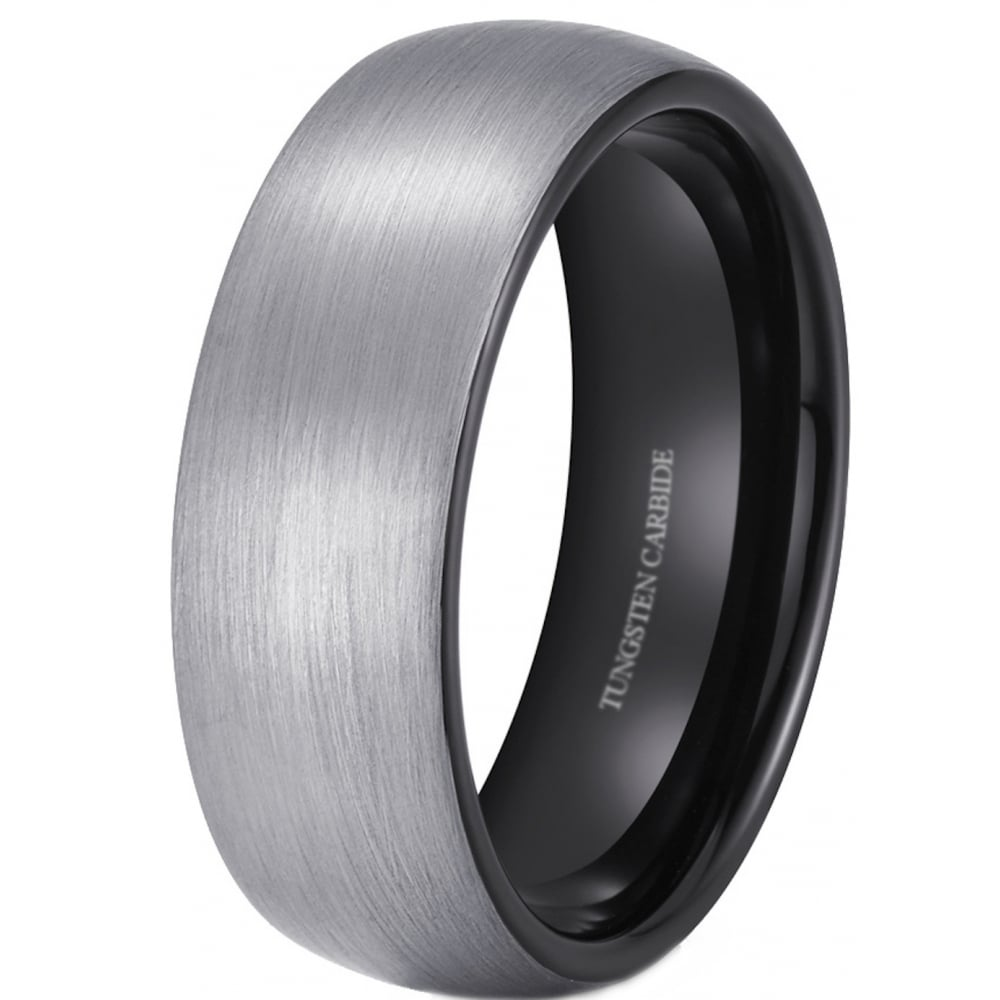 It is a picture of 42mm Brushed Tungsten Wedding Engagement Ring With Black Interior