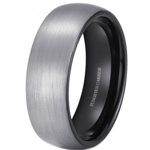 8mm Brushed Tungsten Wedding Engagement Ring With Black Interior