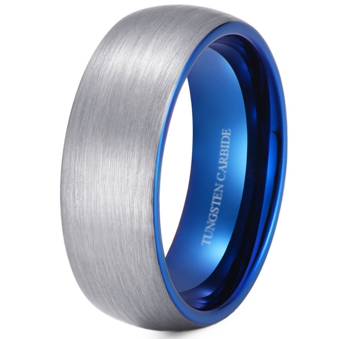 8mm Brushed Tungsten Wedding Engagement Ring With Blue Interior