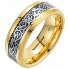 8mm Celtic Dragon Inlay Gold Tone Tungsten Carbide Comfort Fit Wedding Engagement Band Ring