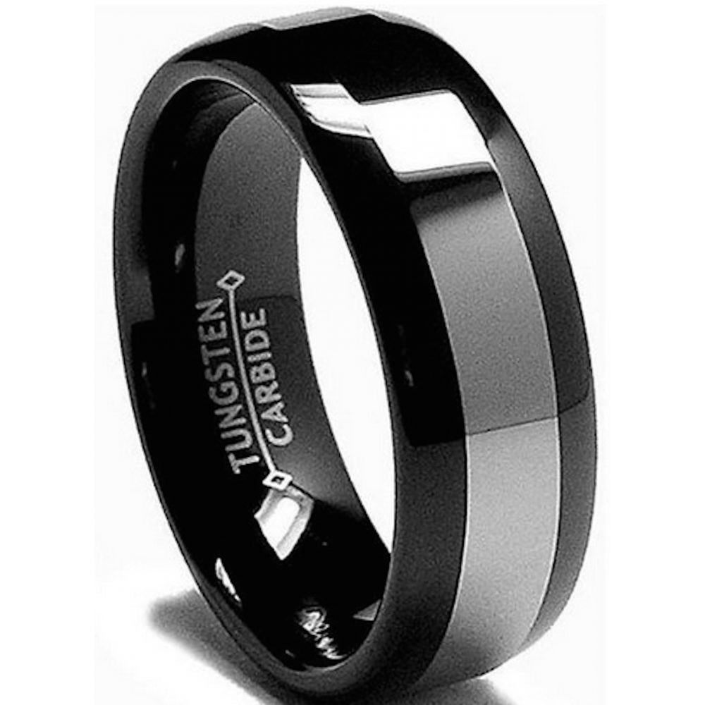 wedding rings black 8mm mens black tungsten carbide wedding engagement comfort 1018