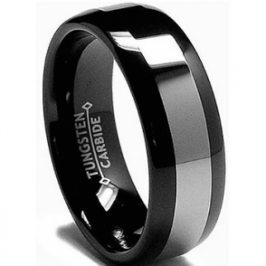8mm Mens Black Tone Tungsten Carbide Wedding Band Ring