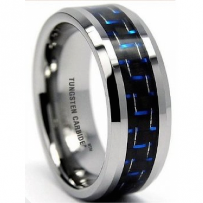 8MM Men's Blue/Black Carbon Fiber Inaly Tungsten Carbide Wedding Engagement Band Ring