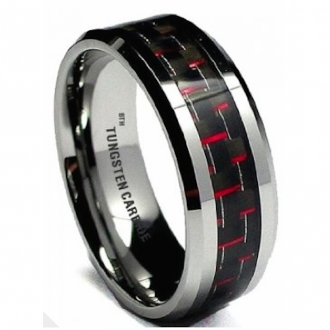 8MM Men's Red/Black Carbon Fiber Inaly Tungsten Carbide Wedding Engagement Band Ring