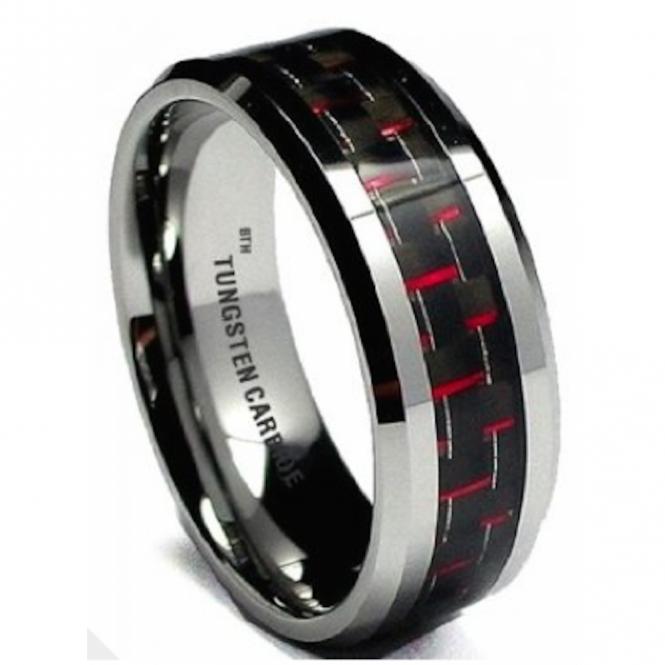 Red Carbon Inlay Mens Tungsten Carbide Wedding Engagement