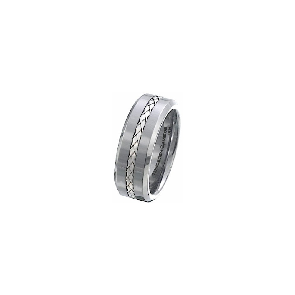 925 Silver Inlay TUNGSTEN Carbide Comfort Fit Wedding Engagement Jewelry Band