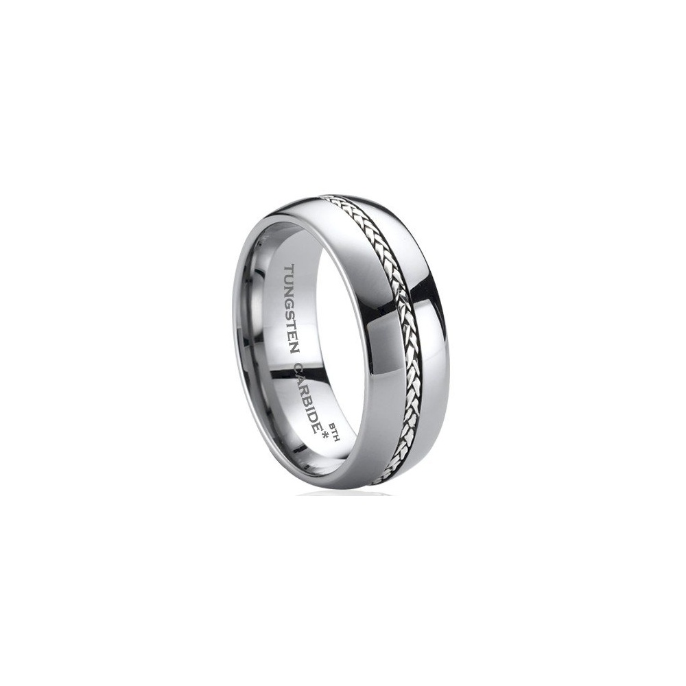 925 Silver Inlay TUNGSTEN Carbide Comfort Fit Wedding Engagement Jewelry Band Ring
