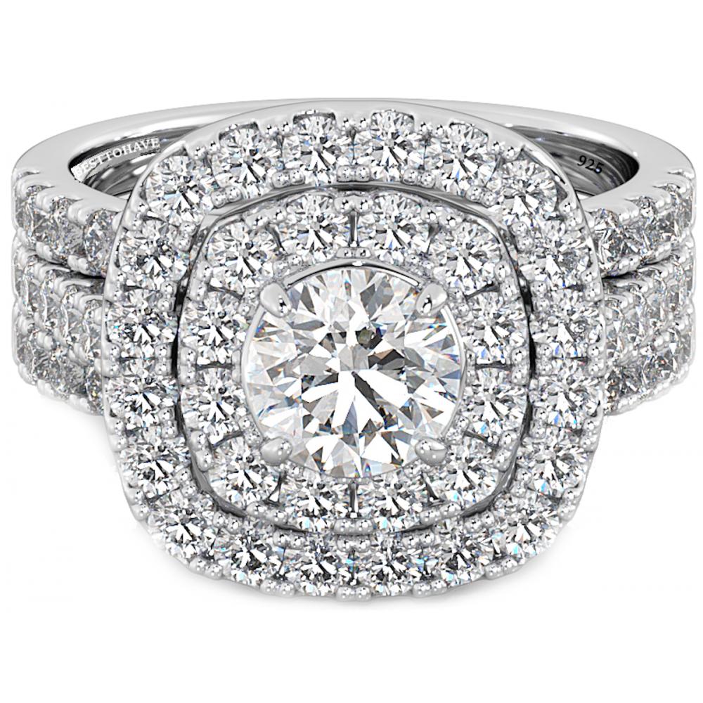 925 silver 3 wedding engagement cut