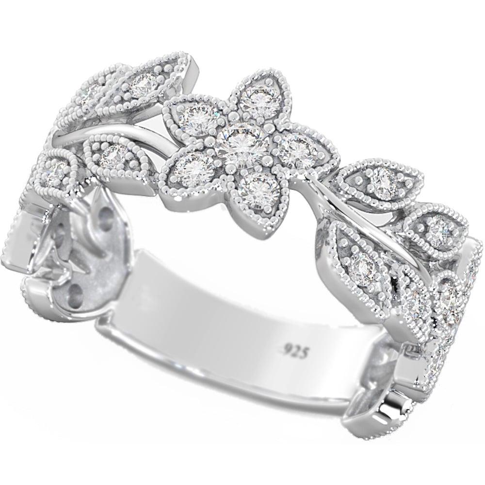 Filigree Wedding Band.925 Silver Ladies Unique Filigree Flower Band Ring