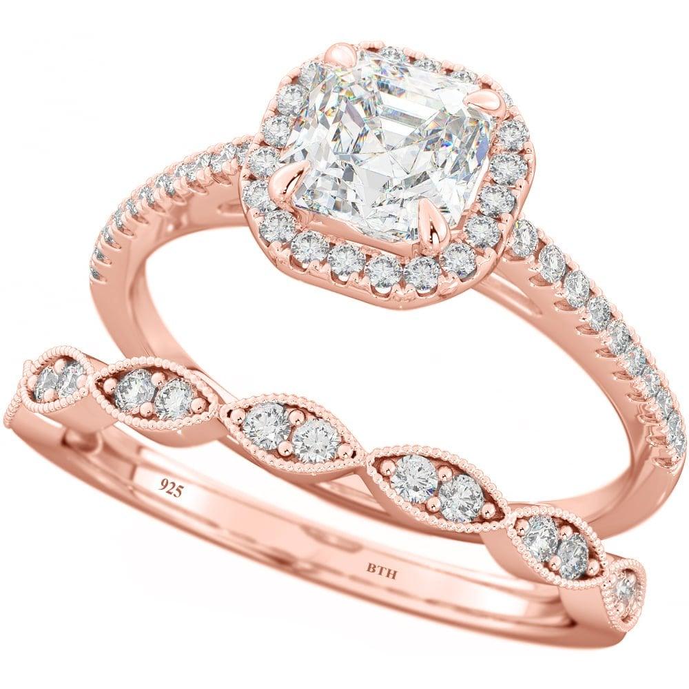 432f49f85a220 925 Silver Rose Gold Tone Asscher Cubic Zirconia Ring Set