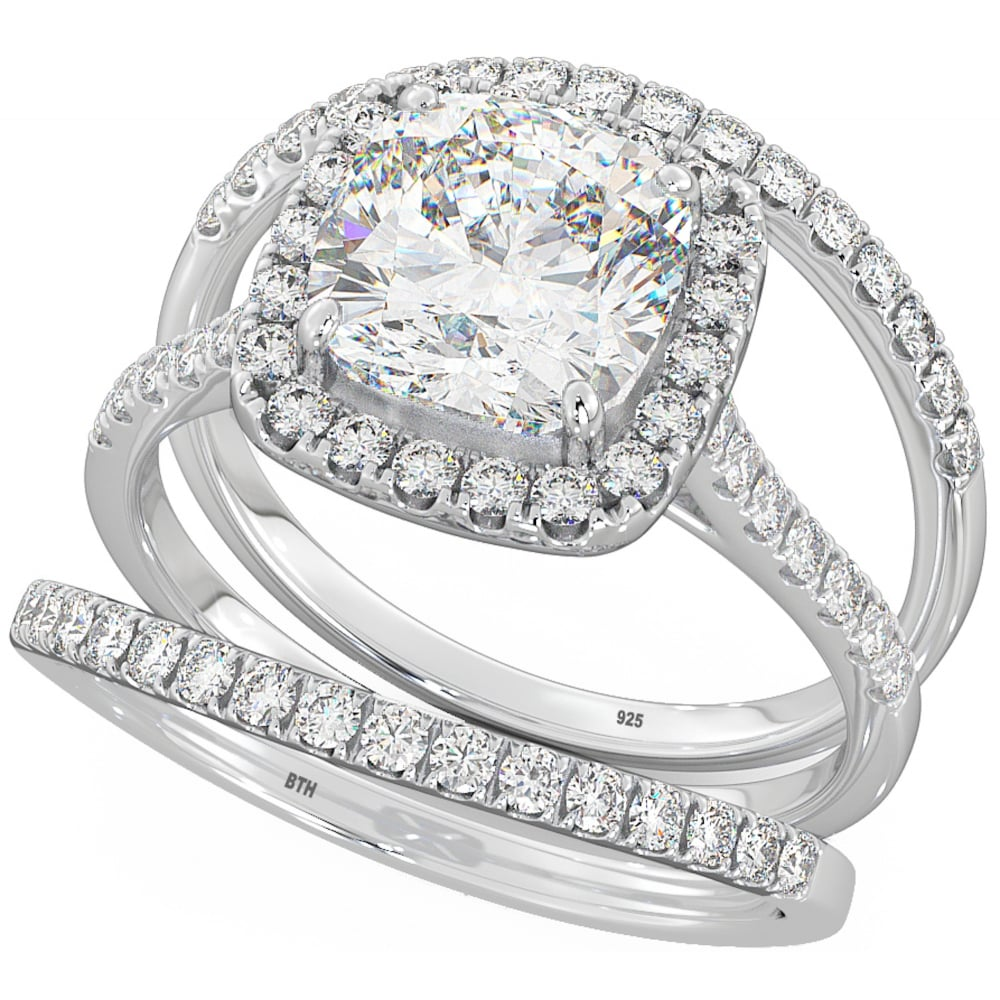 925 Silver Wedding Engagement Cubic Zirconia Trio Ring Set Cushion Cut Halo Design