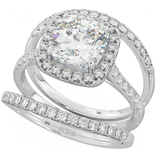 925 Silver Wedding Engagement Cubic Zirconia Trio Ring Set - Cushion Cut Halo Design