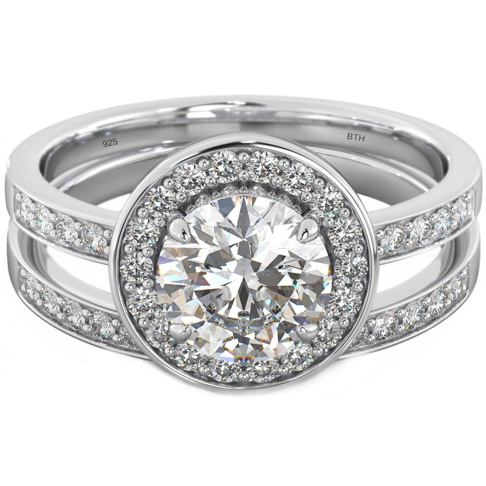 925 Sterling Silver 2 Piece Halo Engagement Ring Set