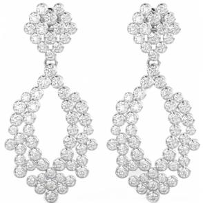 d92c696a6 925 Sterling Silver Art-Deco Ladies Cubic Zirconia Bridal Drop Earrings
