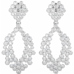 925 Sterling Silver Art-Deco Ladies Cubic Zirconia Bridal / Fashion Luxury Drop Earrings
