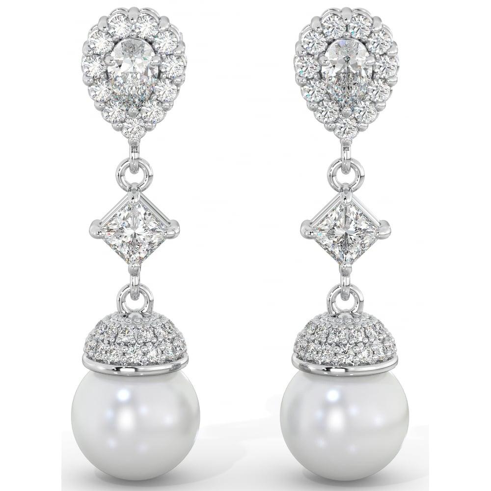 e206ca1e5 925 Sterling Silver Art-Deco Ladies Cubic Zirconia Tear Drop Bridal Pearl  Earrings