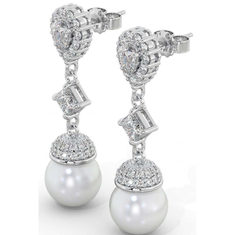 13814ec77 925 Sterling Silver Art-Deco Ladies Cubic Zirconia Bridal Pearl Drop  Earrings