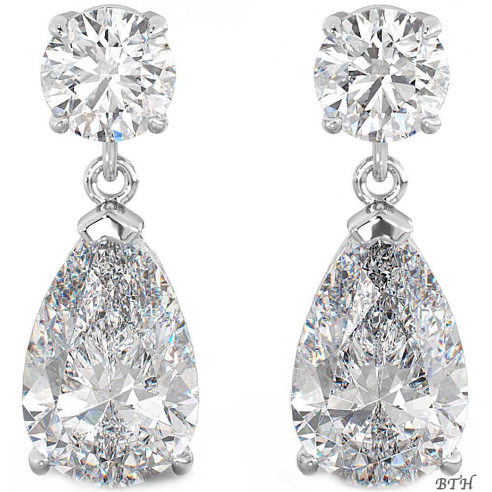 925 Sterling Silver Art Deco Las Cubic Zirconia Tear Drop Bridal Earrings