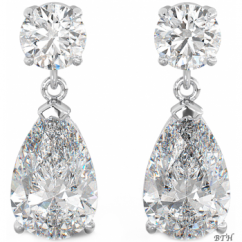 925 Sterling Silver Art-Deco Ladies Cubic Zirconia Tear Drop Bridal Earrings