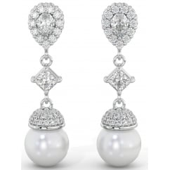 925 Sterling Silver Art-Deco Ladies Cubic Zirconia Tear Drop Bridal Pearl Earrings