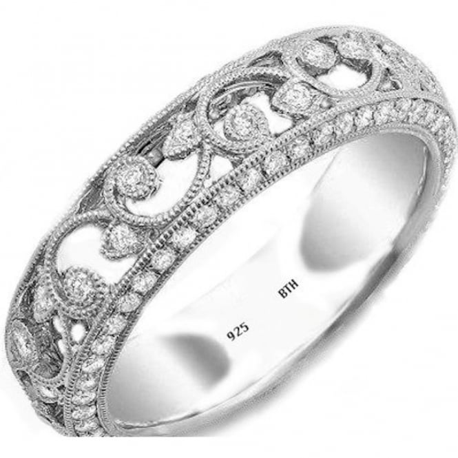 925 Sterling Silver Art-Deco Vintage Look Ladies Luxury Unique Wedding Engagement Band Ring