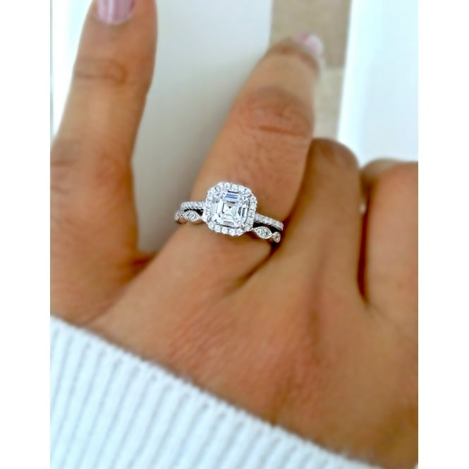 925 Sterling Silver Asscher Cut Cubic Zirconia Ring Set
