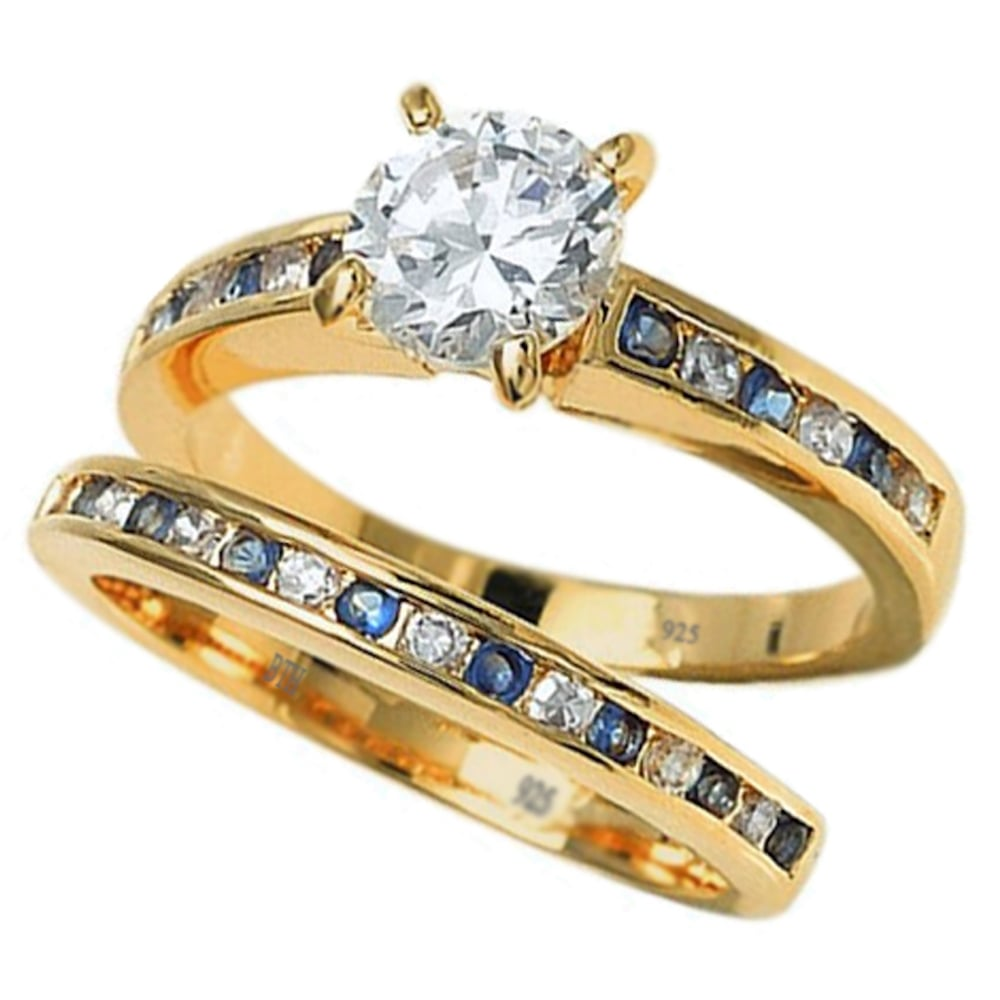 ring wedding gold unity sapphire f white set engagement