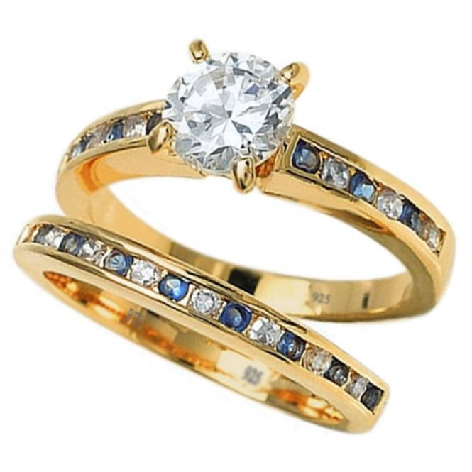 925 Sterling Silver Blue Sapphire Cubic Zirconia Wedding Engagement Ring Set