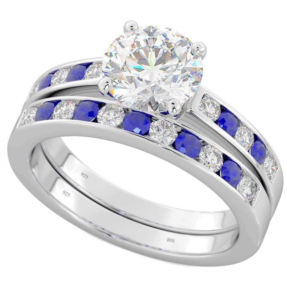 925 Sterling Silver Blue Sapphire Cubic Zirconia Wedding Ring Set