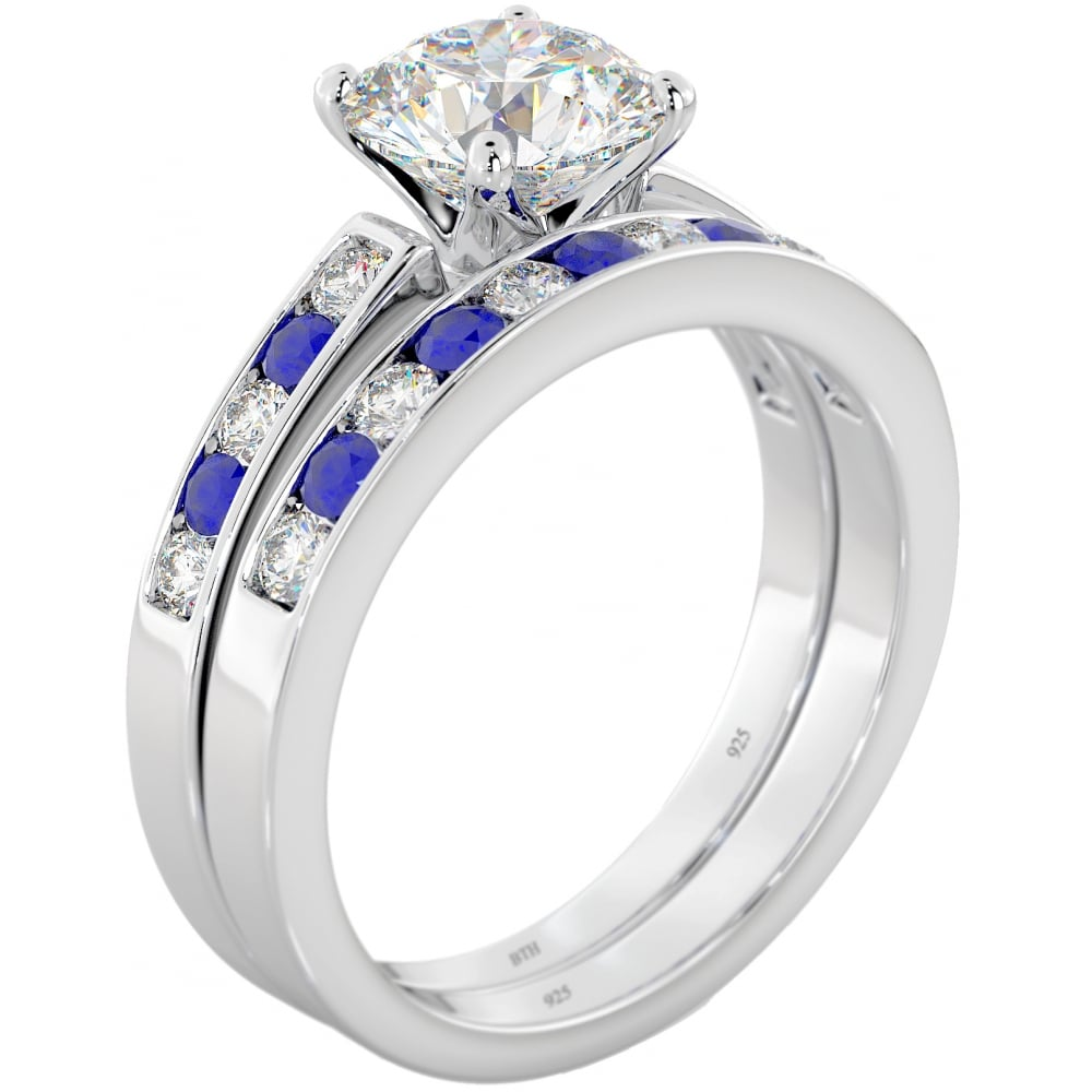 925 sterling silver blue sapphire cz wedding engagement ring set - Cz Wedding Ring Sets