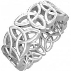 925 Sterling Silver Celtic Trinity Knot Band Ring