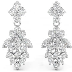 925 Sterling Silver Classic Ladies Cubic Zirconia Drop Dangle BridalEarrings
