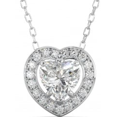 925 Sterling Silver Cubic Zirconia Halo Heart Pendant Necklace