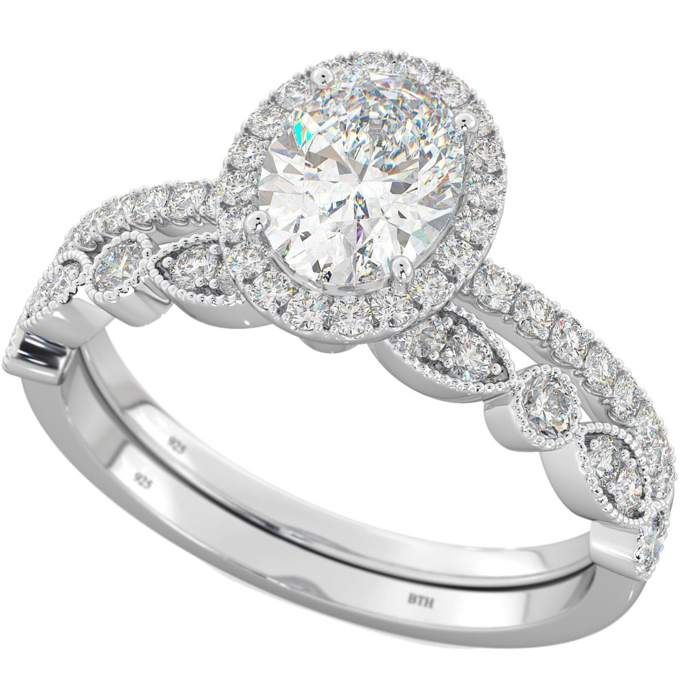 925 Sterling Silver Cubic Zirconia Oval Halo Bridal Ring Set