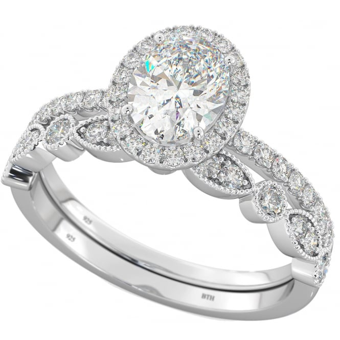 925 Sterling Silver & Cubic Zirconia Oval Halo Bridal Ring Set