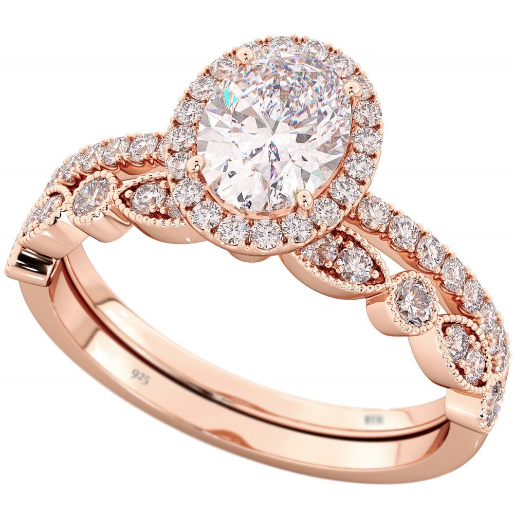 9245c2d81c21d 925 Sterling Silver & Cubic Zirconia Rose Gold Oval Halo Bridal Ring Set