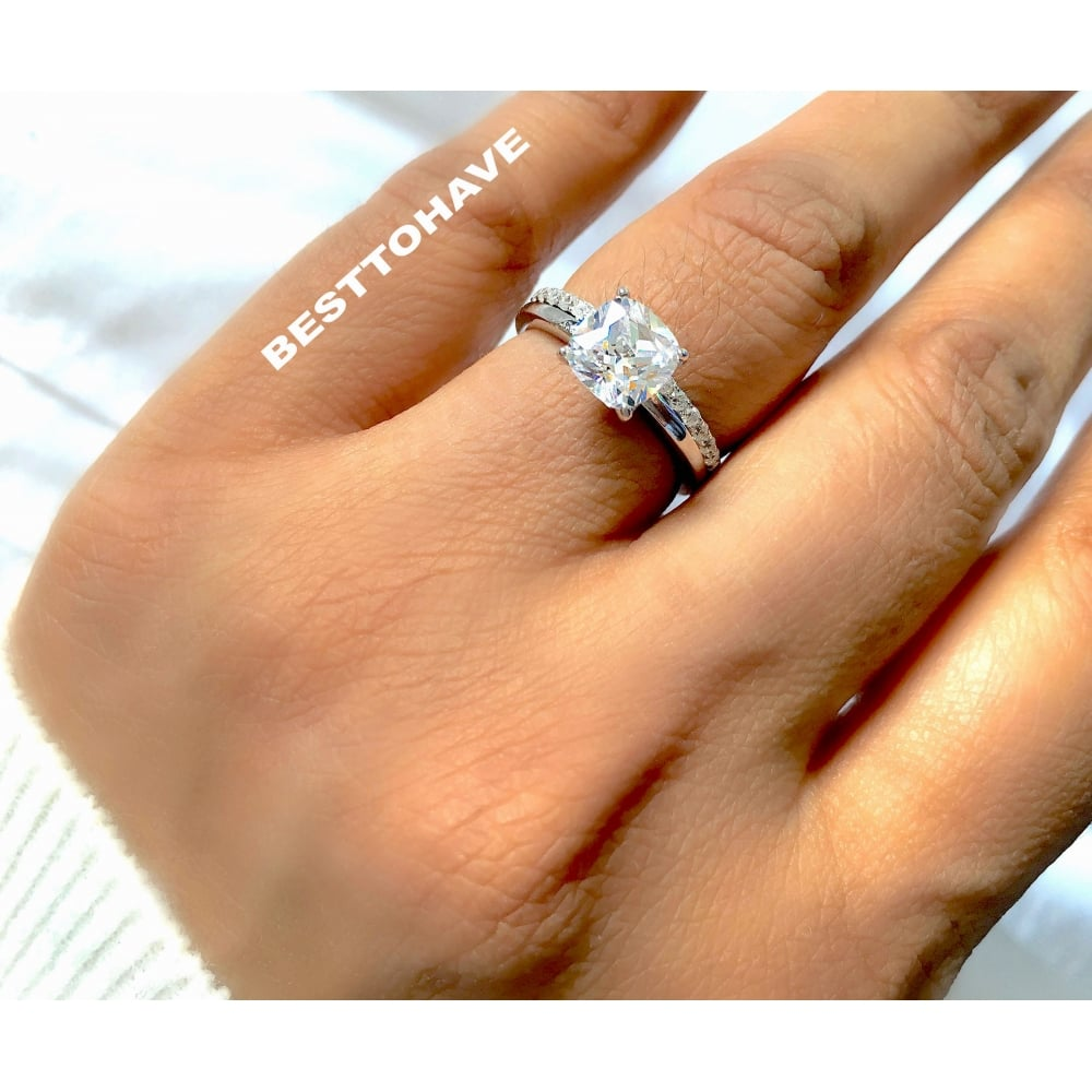 Merveilleux 925 Sterling Silver Cushion Cut Solitaire Wedding Engagement Ring Set