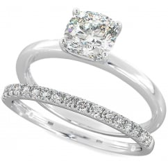 925 sterling silver Cushion Cut Solitaire Wedding Engagement Ring Set