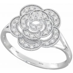 925 Sterling Silver Dazzling Cubic Zirconia Vintage Style Flower Engagement Ring