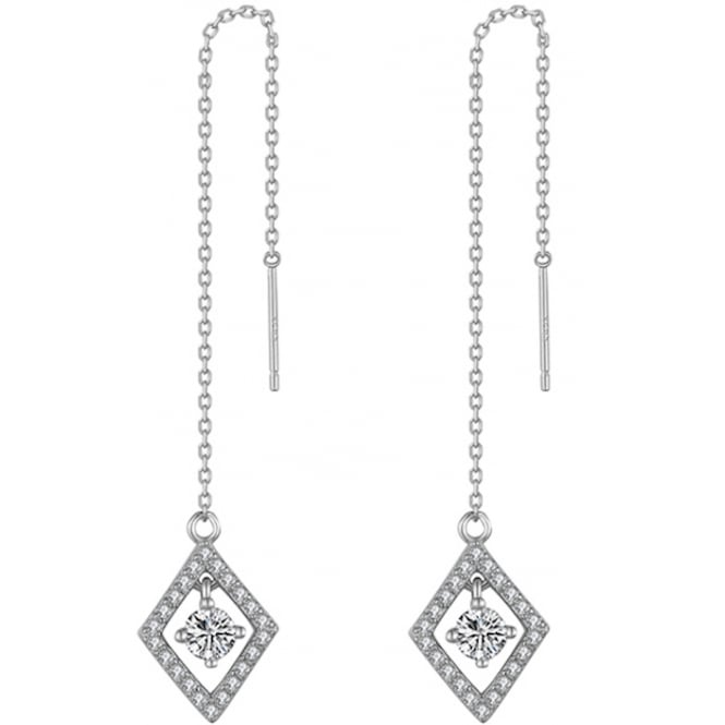 925 Sterling Silver Diamond Shape Chain Earrings with Cubic Zirconia