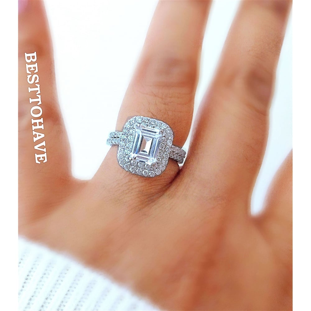 Emerald Cut Wedding Engagement Ring With Double Halo