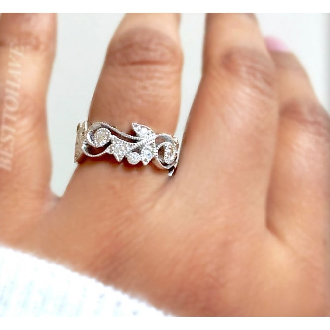 925 Sterling Silver, Filigree and Cubic Zirconia Ladies Ring