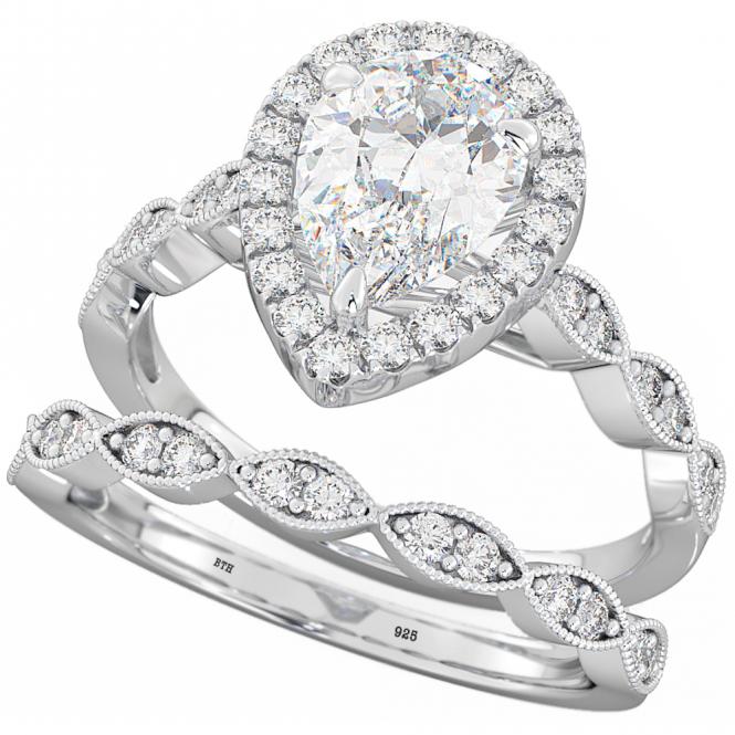 925 Silver Halo Design Teardrop Pear Cut Wedding Engagement Ring Set