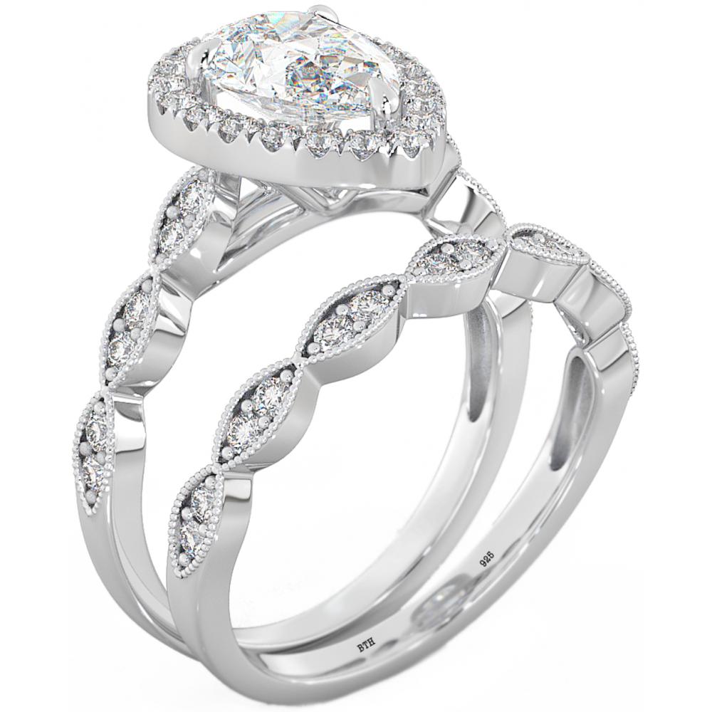 elegant teardrop wedding rings